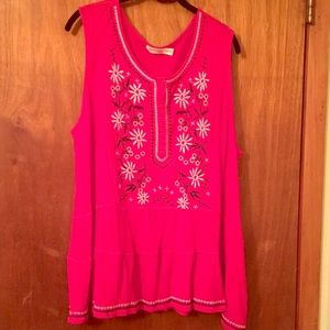 Plus size knit tunic top with embroidery
